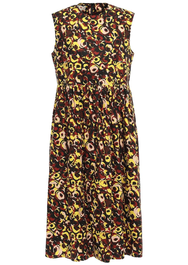 Marni Woman Gathered Printed Cotton-poplin Midi Dress Marigold