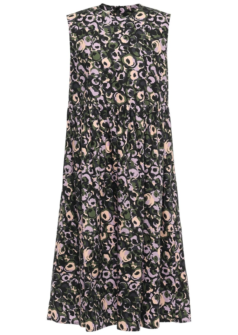 Marni Woman Gathered Printed Cotton-poplin Midi Dress Army Green