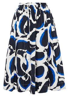 Marni Woman Gathered Printed Cotton-poplin Skirt Black