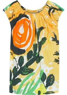 Marni Woman Gathered Printed Cotton-poplin Top Multicolor
