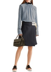 Marni Woman Gathered Printed Silk Crepe De Chine Blouse Blue