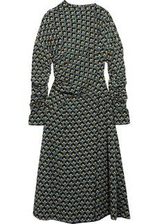 Marni Woman Gathered Printed Silk-crepe Midi Dress Petrol