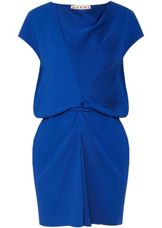Marni Woman Gathered Satin-crepe Top Cobalt Blue