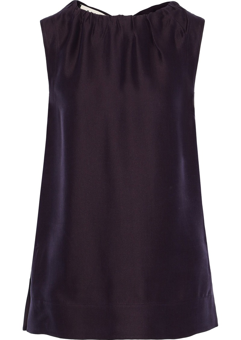 Marni Woman Gathered Satin-crepe Top Plum