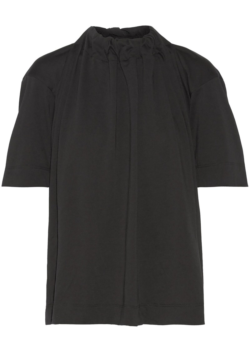 Marni Woman Gathered Stretch-cotton Jersey Top Black