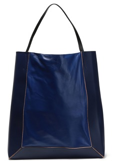 Marni Woman Glossed And Smooth-leather Tote Royal Blue