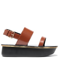 Marni Woman Glossed-leather Platform Slingback Sandals Brown