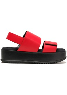 Marni Woman Glossed-leather Platform Slingback Sandals Red