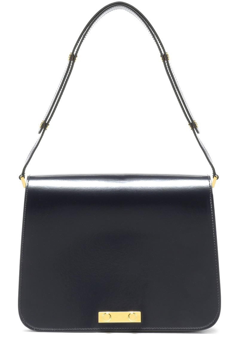 Marni Woman Glossed-leather Shoulder Bag Midnight Blue