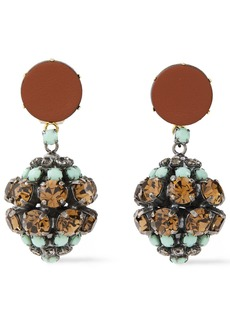 Marni Woman Gold And Burnished Silver-tone Crystal And Leather Clip Earrings Turquoise