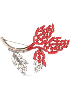 Marni Woman Gold-tone Coated Crystal Brooch Tomato Red