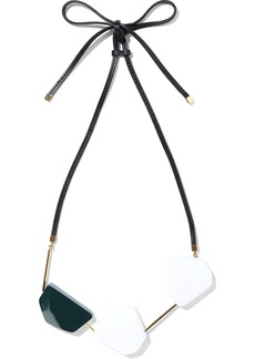 Marni Woman Gold-tone Leather And Wood Necklace White