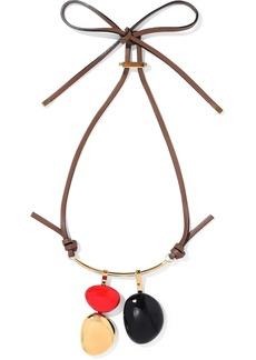 Marni Woman Gold-tone Leather And Wood Necklace Red