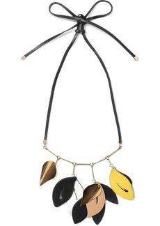 Marni Woman Gold-tone Leather Necklace Black
