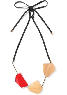 Marni Woman Gold-tone Wood And Leather Necklace Tan