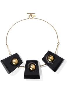 Marni Woman Gold-tone Wood Necklace Black