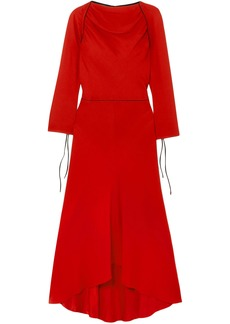 Marni Woman Grosgrain-trimmed Crepe Midi Dress Red
