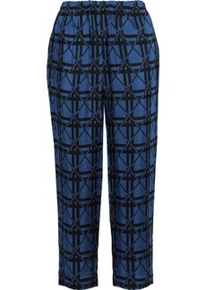 Marni Woman Jacquard Straight-leg Pants Blue