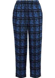 Marni Woman Jacquard Straight-leg Pants Blue