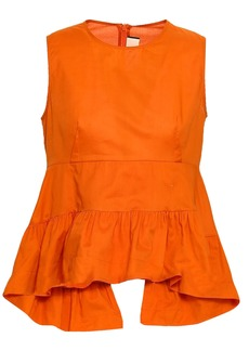 Marni Woman Layered Cotton-poplin Peplum Top Orange