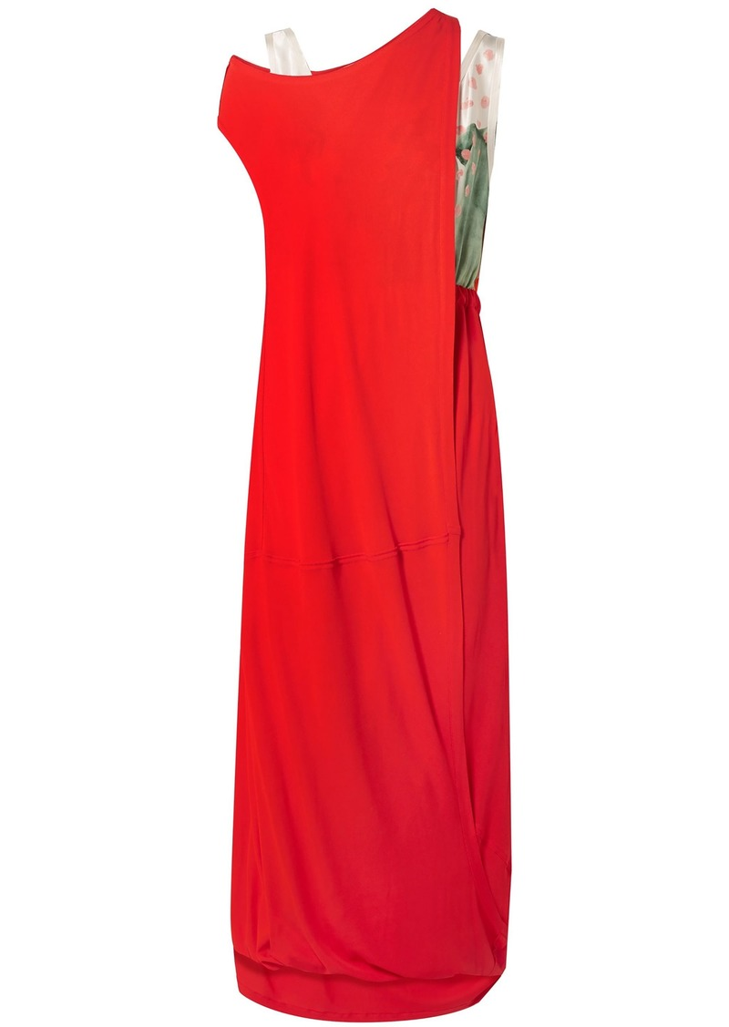 Marni Woman Layered Jersey And Printed Satin Maxi Dress Red