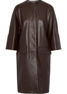 Marni Woman Leather Coat Chocolate