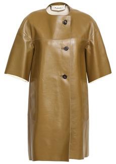 Marni Woman Leather Coat Sage Green