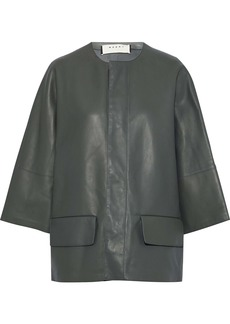 Marni Woman Leather Jacket Army Green