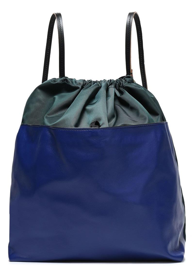 Marni Woman Leather-paneled Shell Backpack Dark Green