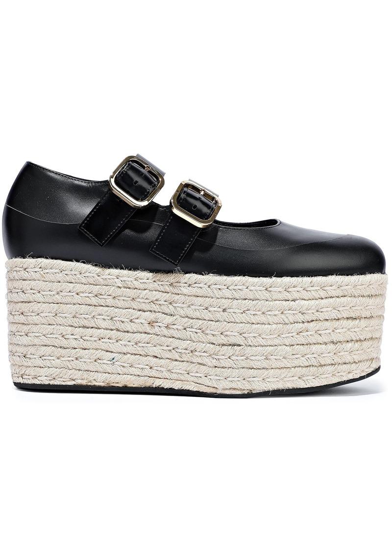 Marni Woman Leather Platform Espadrilles Black