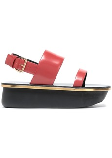 Marni Woman Glossed-leather Platform Slingback Sandals Papaya