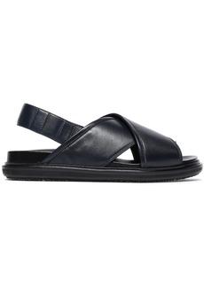 Marni Woman Leather Slingback Sandals Midnight Blue