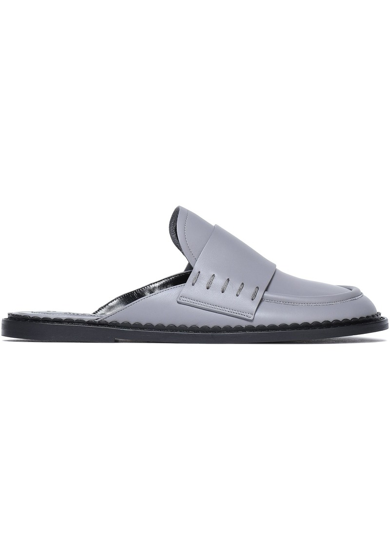 Marni Woman Leather Slippers Gray