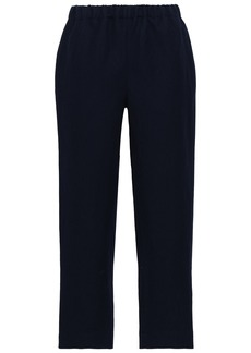 Marni Woman Linen And Wool-blend Straight-leg Pants Navy