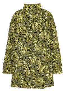 Marni Woman Printed Cotton-poplin Turtleneck Top Lime Green