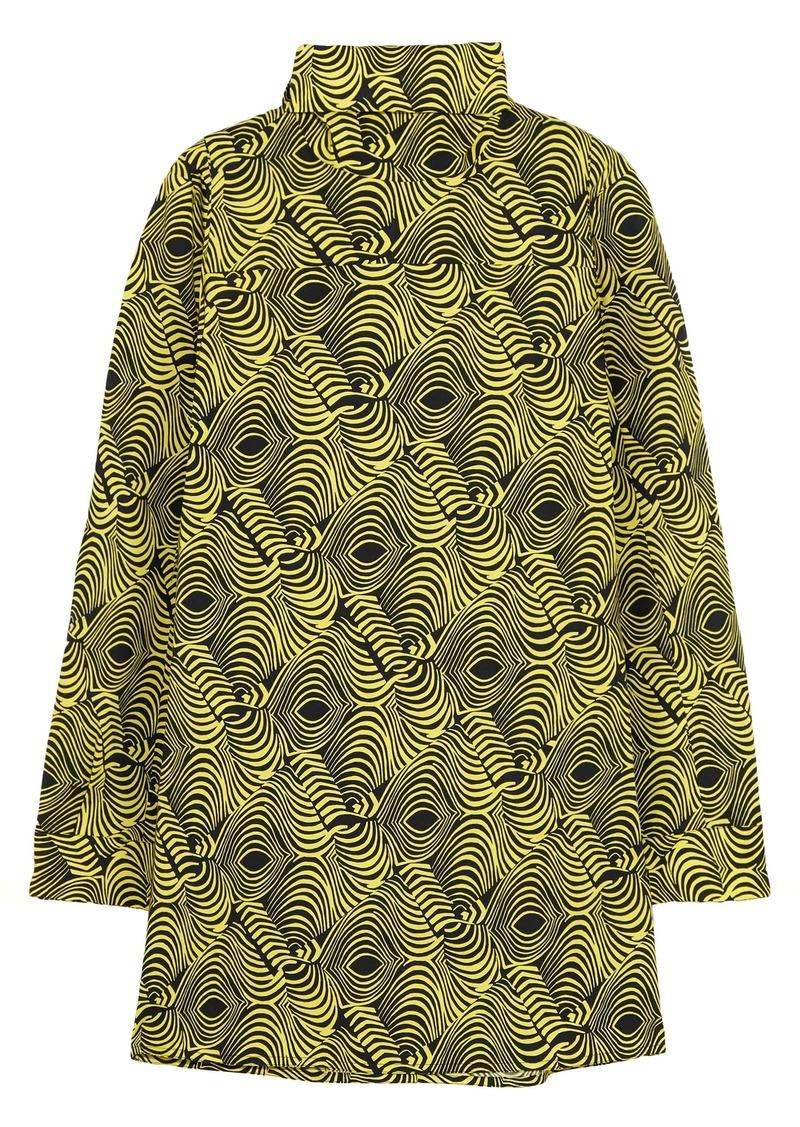 Marni Woman Printed Cotton-poplin Turtleneck Top Lime Green