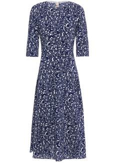 Marni Woman Lylee Pleated Printed Silk-crepe Midi Dress Indigo