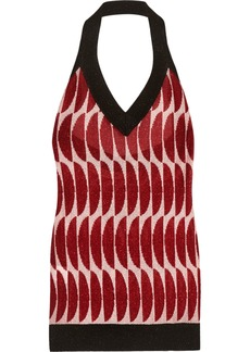 Marni Woman Metallic Intarsia-knit Halterneck Top Crimson