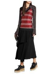 Marni Woman Metallic Intarsia-knit Halterneck Top Crimson