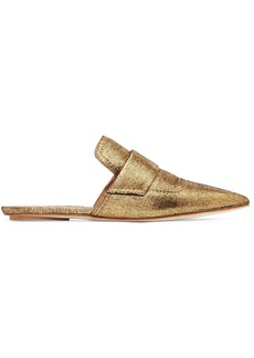 Marni Woman Metallic Textured-leather Slippers Gold
