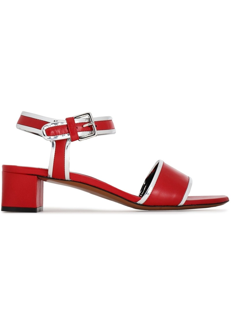 Marni Woman Metallic-trimmed Leather Sandals Crimson