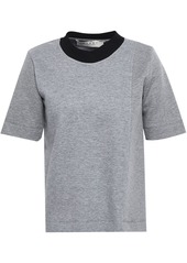 Marni Woman Mélange Cotton-blend Neoprene Top Gray