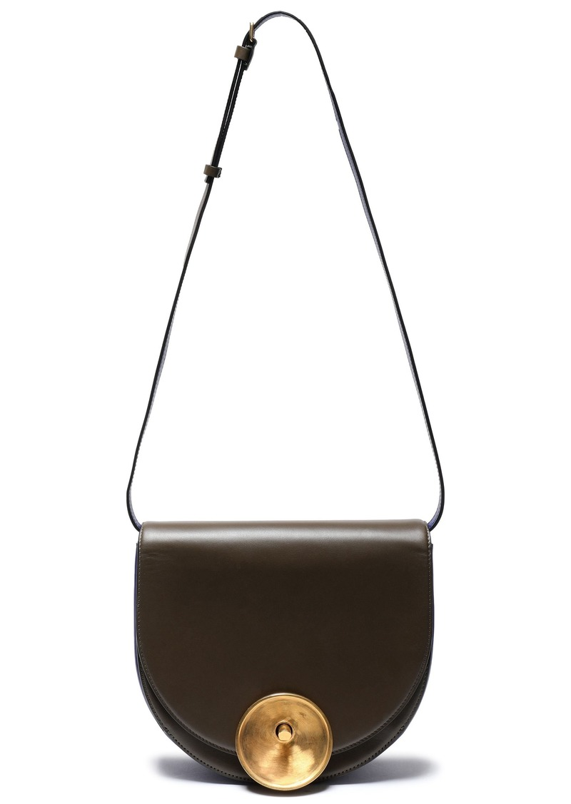 Marni Woman Monile Color-block Leather Shoulder Bag Army Green