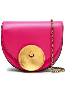Marni Woman Monile Mini Color-block Leather Shoulder Bag Fuchsia