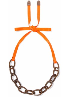Marni Woman Neon Grosgrain Wood And Enamel Necklace Bright Orange