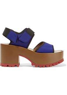 Marni Woman Neoprene And Leather Platform Sandals Royal Blue