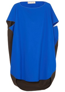 Marni Woman Oversized Cape-effect Two-tone Cotton-poplin Top Blue