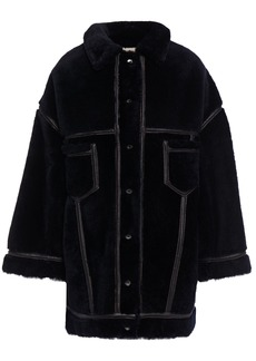 Marni Woman Oversized Vegan Leather-trimmed Shearling Coat Midnight Blue