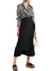 Marni Woman Oversized Zebra-print Cotton-poplin Shirt Black