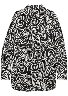 Marni Woman Oversized Zebra-print Cotton-poplin Shirt Black